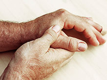 Close up of elderly mans hands